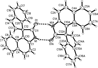 The dimer structure formed via N—H···O hydrogen bonding interactions in 1, shown as dashed lines. Symmetry transformations used to generate equivalent atoms: A: -x + 1, -y + 1, -z + 1. Hydrogen atoms are drawn as spheres of arbitrary radii.