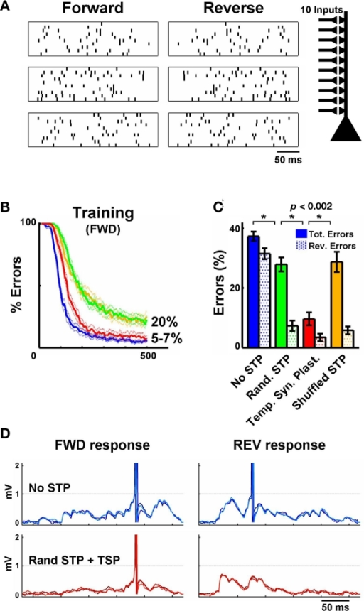 "Temporal synaptic plasticity enhances the discrimination of complex spatiotemporal patterns. (A) Sample of three (out of five) spike patterns of one stimulus set – three forward patterns and their reverses are shown. Each pattern is composed of 10 inputs. (B) Performance during training on the FWD patterns in an IAF neuron. The blue line depicts learning without short-term plasticity and the green line depicts training when synapses were assigned random but fixed STP values. In the red line condition synapses were ""metaplastic,"" i.e., U underwent long-term plasticity, guided by the temporal synaptic plasticity learning rule. The yellow line depicts retraining with the shuffled STP values obtained from the simulations shown in red again in the absence of STP plasticity. The tempotron learning rule alone (no STP) performed well (blue), yielding 5–7% errors. Here an error is a failure to detect the target (forward) pattern or firing to any of the non-target patterns. Training for longer periods (2000 trials) or stopping training when a fixed error level is achieved (e.g., 20%) yields results similar to the ones shown in (C). (C) Performance during testing. Filled bars represent total errors (FWD + REV), and the dotted bars represent the REV errors (e.g., an output unit trained to recognize pattern #1 responded to pattern #1 presented backwards). Notice that the inclusion of synapses with random (but ""fixed"") STP values before training improves performance significantly (green). However, using temporal synaptic plasticity to tune STP (starting with random values) further decreases the number of errors (red). (D) Top row: Response of IAF neuron trained to recognize the stimulus shown in the first row of A (three overlaid test presentations are shown). Synapses do not exhibit short-term plasticity. Bottom row: as above, but synapses exhibit STP, whose parameters were adjusted by the temporal synaptic plasticity learning rule during training. Notice the effectiveness of temporal synaptic plasticity in preventing the neuron to fire to the reverse pattern. Each plot shows three trials represented in different shades of blue or red."