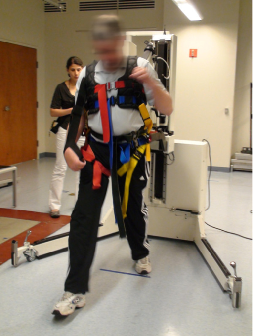 "Overground robotic gait and balance system (KineAssistTM) use to provide external forces at the pelvis during walking (i.e. ""push mode"" walking)."