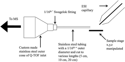 Schematic diagram of the modified inlet of the quadrupole/time-of-flight mass spectrometer for non-proximal DESI-MS analysis.