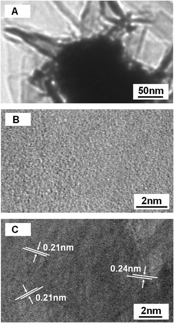 TEM and HRTEM analysis of NiO film. (A) TEM image of the small size particle-composed NiO film. (B) HRTEM image recorded from the shells of the small size particle. (C) HRTEM images recorded from the core of the small size particle.