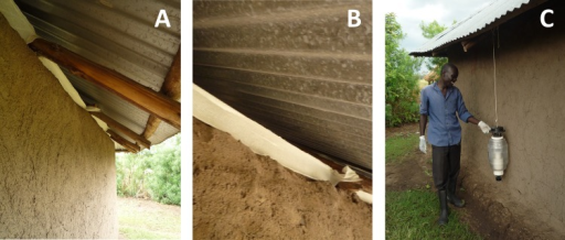 The components of the push-pull system.Panels A and B: The 10 cm wide strip of fabric as it was applied inside the eave, around the full circumference of the house. Panel C: The attractant baited MM-X trap as it was installed outside the house.