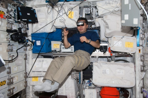 On board the International Space Station.An astronaut wearing the head-mounted display and holding a finger mouse in his hand is performing the experiment while free-floating. Photo credit NASA. The individual in this picture has given written informed consent (as outlined in PLOS consent form) to publish this photograph.