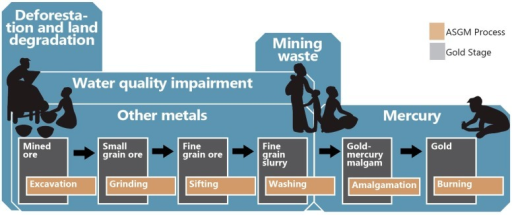 Key ecological hazards in the Ghanaian artisanal and small-scale gold mining (ASGM) sector. Silhouettes adapted from UNEP Mercury: Time to Act (2013) [11].