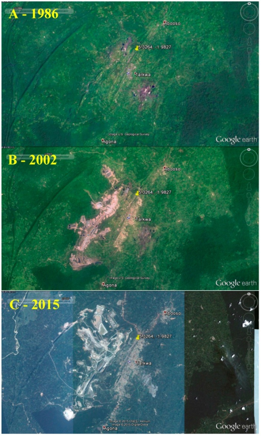 Satellite photos of Tarkwa, Western Region, from December 1986 (A), January 2002 (B), and January 2015 (C), depicting rapid gold mining development. Images from Google Earth (2015).