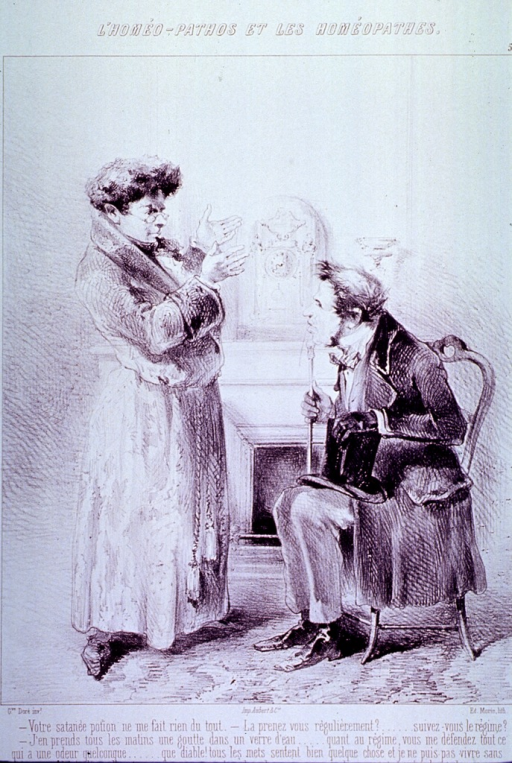 <p>A man is standing before a man sitting in a chair with his top hat on his lap and holding a cane.</p>