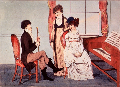 <p>Two young women are entertained by a young doctor seated to the left in a sparsely furnished drawing room.</p>