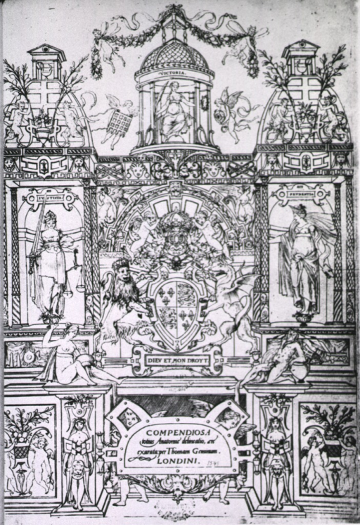 <p>Ornately decorated facade with human figures, cherubs, supernatural creatures, and various architectural features; Justicia stands on the left, Prudentia on the right, and Victoria is seated in a cupola; a coat-of-arms is in the center above the title.</p>