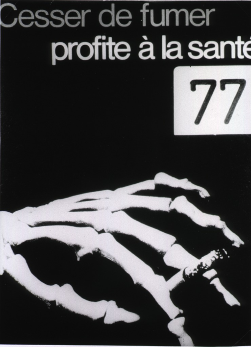 <p>Poster concerned with the harmful effects of smoking. A skeletal hand holding a cigarette.</p>