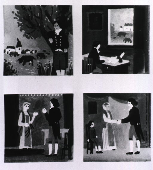 <p>Four illustrations of Edward Jenner at various times during the development of his new technique for smallpox inoculation; 1) watching cows grazing, 2) putting his idea on paper, 3) talking to Sarah Nelmes (milkmaid), and 4) meeting James Phipps.</p>