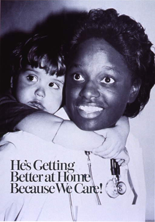 <p>Green poster with green and white lettering.  Visual image dominates poster.  Image is a reproduction of a b&amp;w photo of a health worker, wearing a white coat and a stethoscope, with a young boy hugging her around the neck from behind.  Title in lower left corner of image.  Publisher information near lower left corner of poster.</p>