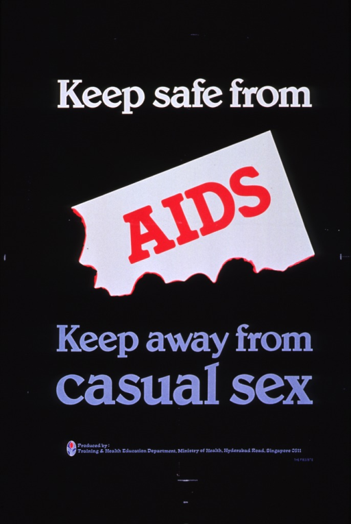 <p>Black background with some white, red, and purple lettering. The word AIDS is spotlighted with white background and in red lettering.</p>