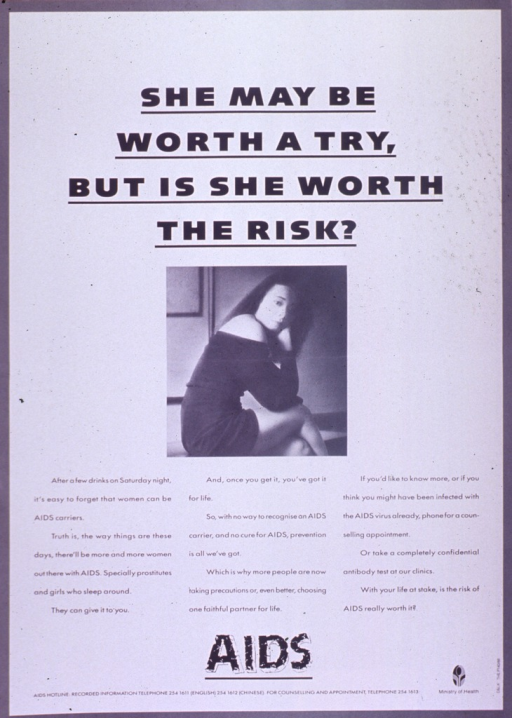 <p>Predominantly white poster with black lettering.  Title at top of poster.  Visual image is a b&amp;w photo reproduction featuring a young woman in a revealing dress.  Caption below photo stresses that women can transmit AIDS and urges fidelity and testing.  Note below caption.  Publisher information in lower right corner.</p>