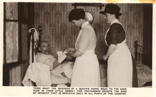 <p>Postcard featuring a black and white photograph of two female nurses standing by the bed of an old man in a room. One of them is wrapping a bandage around the old man's arm and the other one is observing from behind.</p>