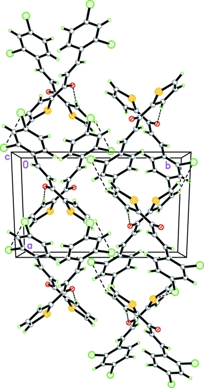 The crystal packing of (I), viewed along the c axis showing the cross-linked chains approximately along the a axis. Hydrogen bonds are drawn as dashed lines.