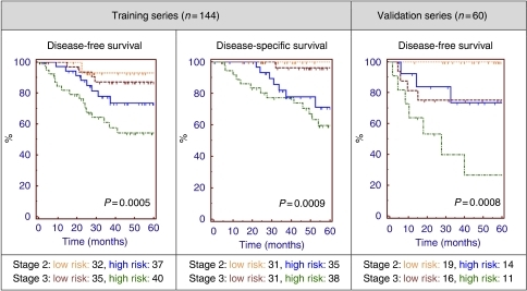 Kaplan–Meier analysis of stage 2 and 3 colon cancer patients stratified by clinical staging and the 163-gene prognostic signature. Risk-group predictions for those patients who were part of the training series (n=144) were determined by cross-validation analysis. The final 163-gene classifier was then applied to the independent analysis series (n=60) of patients, who were not involved in the gene selection or algorithm development process. P-values generated by the log rank test.
