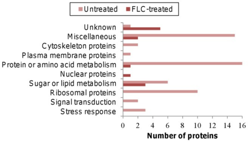 Categories of proteins that were present only in the FLC-treated or in the untreated samples.Proteins involved in energy production, protein metabolism and ribosomal protein synthesis were substantially reduced in the FLC-treated cells, while the number of unknown proteins increased in the FLC-treated cells.