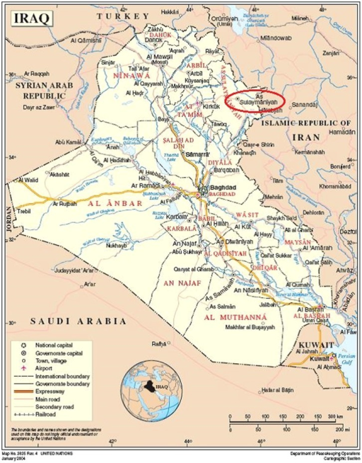 Map of Iraq showing area of Sulaymaniyah.
