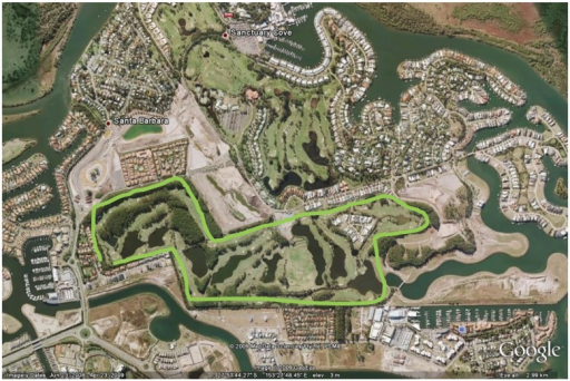 Map showing Pines golf course and surrounding urban areas (Google Earth, 2009).