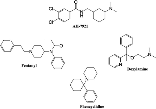 Chemical structures of AH-7921, fentanyl, doxylamine, and phencyclidine
