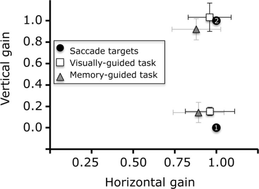 Saccade gain in the double-step task.Vertical and horizontal endpoints of first and second saccades in the double-step tasks.
