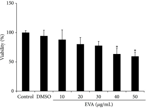 EVA exerts weak cytotoxicity against HUVECs. Cytotoxic effect of EVA was evaluated in HUVECs by MTT assay. The cells were seeded onto 96-well microplates at a density of 1 × 104 cells/well and treated with various concentrations of EVA (0, 10, 20, 30, 40, and 50 μg/mL) for 48 h. Data are presented as means ± SD. ∗p < 0.05 versus DMSO-treated group.