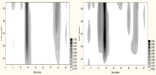 Locations with pain and/or discomfort.The group pulled probabilities of locations with pain or discomfort during cycling (left) and running (right) tasks in 5 temporal windows in a given sample (n = 11). As time on task increases (vertical axis) the number of locations and the probability of experiencing pain and discomfort at selective locations also increase (darker shades of grey) on average. Legend: the probability of experiencing discomfort and pain.