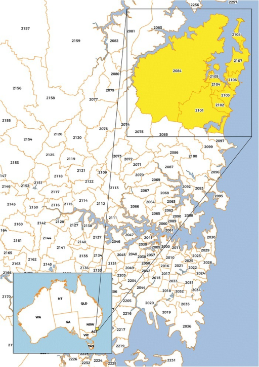 Map Showing The Northern Beaches Area Of Sydney Nsw P Open I