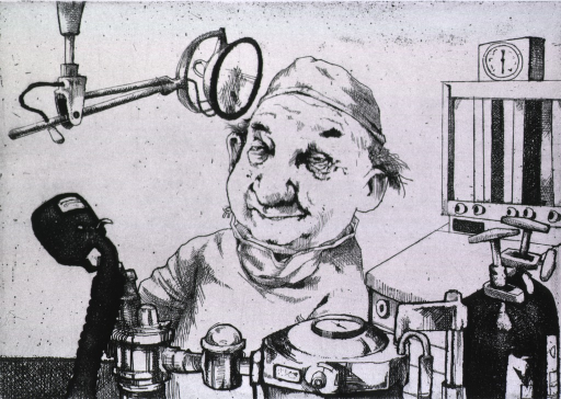 <p>A smiling man in surgical attire is standing among equipment used to anesthetize.</p>