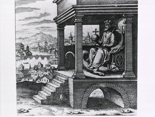 <p>A man is sitting on a throne with a fish for an arm rest and a dragon for a foot stool; he is wearing a crown and is holding a staff in one hand and a sphere with a cross in the other; a city is in the background.</p>