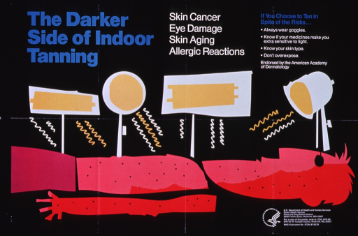 <p>Black poster with teal and white lettering.  Title and caption at top of poster.  Visual image is an abstract illustration of a person basking in the light of sunlamps.  The person is depicted in shades of red and pink suggestive of sunburn.  Publisher information and address from which to obtain a copy of the poster in lower right corner of poster.  Verso of poster provides a lesson plan and student handouts for teaching about tanning.</p>