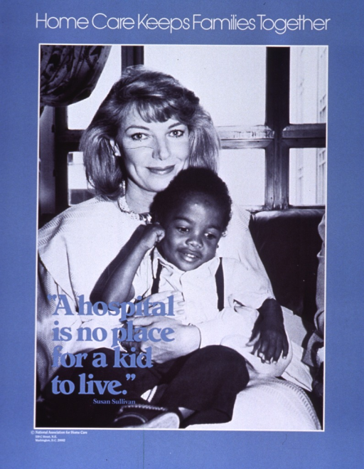 <p>Blue poster with white and blue lettering.  Title at top of poster.  Visual image dominates poster.  Image is a reproduction of a b&amp;w photo of Susan Sullivan, an actress from the 1980s TV show &quot;Falcon Crest&quot;, holding a child on her lap while sitting in front of a window.  Caption superimposed on lower left corner of image.  Publisher information near lower left corner of poster.</p>
