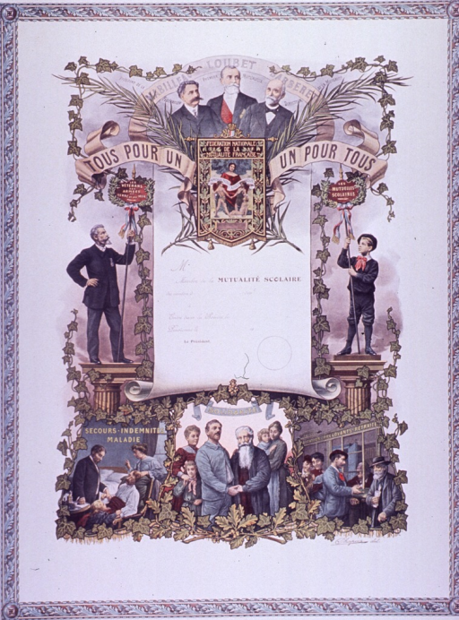 <p>Predominantly white poster with multicolor lettering.  Title near top of poster, on a banner incorporated in the visual image.  Note appears in the middle of the title text.  Image is a reproduction of an enrollment certificate for a &quot;Mutualite scolaire.&quot;  The certificate is surrounded by illustrations of prominant figures in the national federation and scenes of the work of a mutual society.  Scenes include a doctor taking a sick man's pulse and people banking.  It appears that many &quot;Mutualite scolaire&quot; societies existed throughout France in the early 20th century and that the groups focused on child welfare.  The note text appears to refer to an umbrella group for such societies.</p>