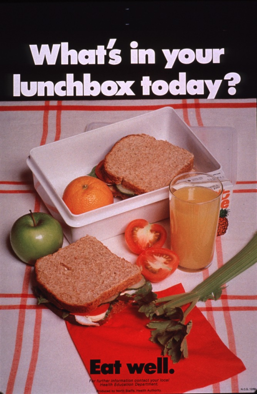 <p>Multicolor poster with white and black lettering.  Title at top of poster.  Visual image is a color photo reproduction featuring a lunchbox containing and surrounded by healthy foods, including sandwiches on whole grain bread, fruits, vegetables, and orange juice.  Caption and publisher information at bottom of poster.</p>