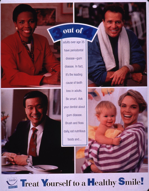 <p>Multicolor poster.  Visual images are 4 color photo reproductions featuring smiling adults in work and leisure settings.  Caption in center of poster, superimposed on photos.  Final phrase of caption is also the title.  Title and note below photos.  Publisher information at bottom of poster.</p>