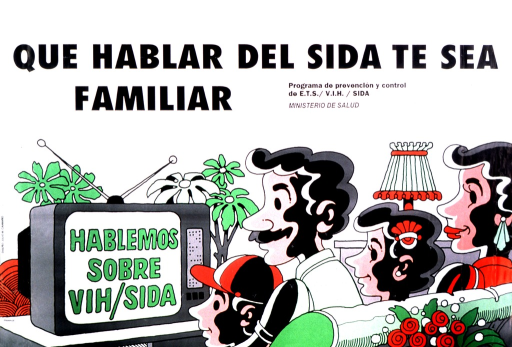 <p>Parents are sitting with their children watching television.  On the screen is: Hablemos sobre VIH/SIDA.</p>