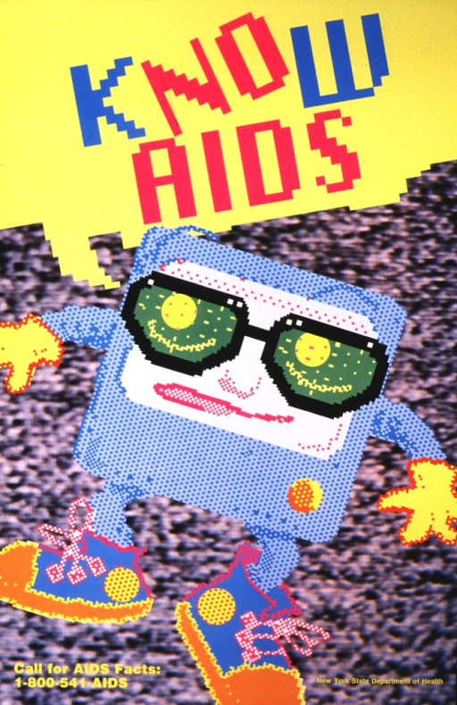 <p>Picture is of a dancing television, wearing sunglasses and high-topped sneakers, with arms and legs.  The image is in large pixels.  The yellow word balloon above its head says &quot;Know AIDS&quot;, with the letters &quot;no&quot; and AIDS&quot; in pink so that they stand out from the turquoise &quot;k&quot; and &quot;w&quot;.</p>