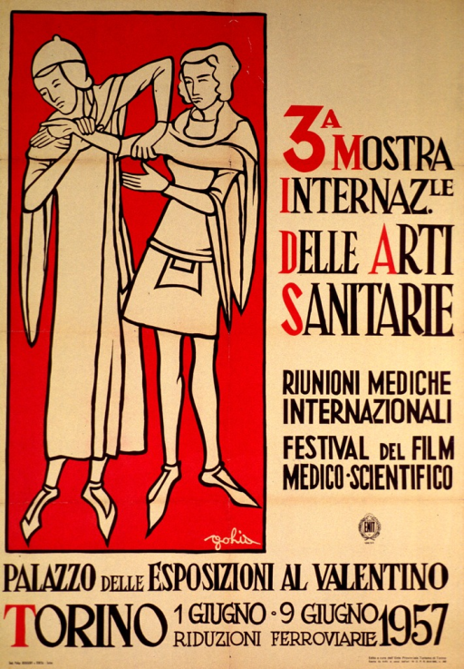 <p>Yellow/beige poster with black print along the right side and bottom portion of the poster and the logo for ENIT. The left side of the poster consists of a red background with the outline of a man and a woman, in Medieval clothes, the woman examining the man's arm. The time, date, and location of the congress are also given.</p>