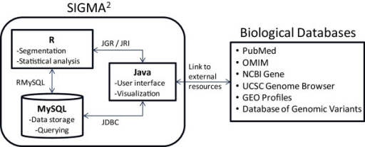 Main structural components of SIGMA2. Data and genome mapping information is stored in the MySQL database. Segmentation analysis using DNACopy and GLAD and statistical analysis is performed using R, with results stored in database. Java was used to program the application, specifically for the user interface and the different types of visualization. Base-pair positions and gene annotations are linked to other biological databases to facilitate further interrogation by the user.