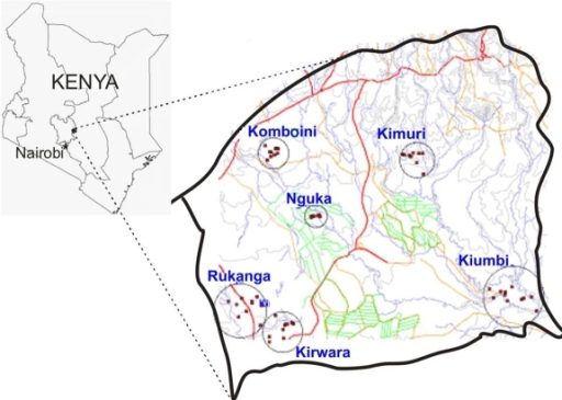 Map Of Kenya Showing The Location Of The Study Area In Mwea Division And The Study