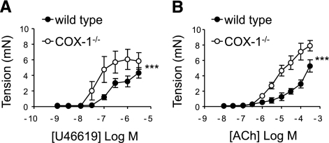 Comparison of bronchoconstriction induced by U46619 (A) or acetylcholine (ACh; B) in airways from wild-type (solid circles) or COX-1−/− (open circles) mice. Data are means ± se; n = 5 mice; 2-way ANOVA. ***P < 0.001.