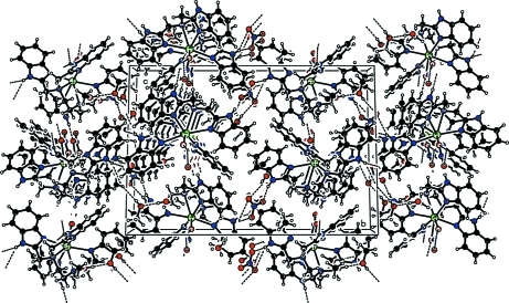 The crystal structure of the title compound, viewed along the a axis. Hydrogen bonds are shown as dashed lines.