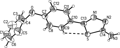 A view of the molecular structure of (I). Displacement ellipsoids are drawn at the 50% probability level. Dashed lines indicate the intramolecular C—H···S contact.
