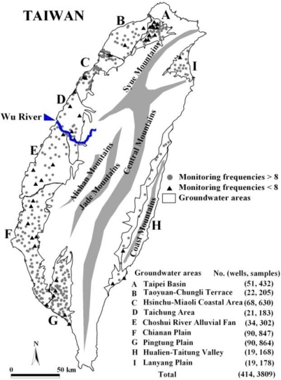 Location of monitoring wells in groundwater areas.
