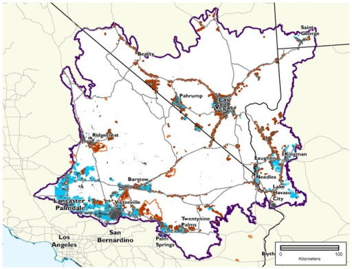Land ownership in potentially suitable lands below 5% slope with Moderately Degraded and Highly Converted conservation value.Blue areas are private lands and dark red areas are BLM land without designation. Areas outlined in orange are designated open off-highway vehicle areas on BLM land in California, accounting for 10% of the 211,000 ha in lower conservation value on BLM land and would not be suitable for development. Conservation values adapted from Randall et al. 2010.