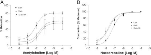 Vascular responsiveness to vasoconstrictor and vasodilator. (A) Carbachol-induced relaxation of aorta ring segments from control and diabetic rats. Artery segments were pre-contracted with noradrenaline (10−7 M). ■ represents responses to carbachol in aorta segments from control rats while ▼ and ▲ represent responses in aorta segments from streptozotocin-treated rats with and without treatment with MnTM-2-PyP. Each point on the graph is the mean±S.E. of five experiments. (B) Reactivity of thoracic aorta segments to noradrenaline in control and diabeticrats. ■ Represents responses to noradrenaline in aorta segments from control rats while ▼ and ▲ represent responses in aorta segments from streptozotocin-treated rats with and without treatment with MnTM-2-PyP. Each point on the graph is the mean±S.E. of five experiments.