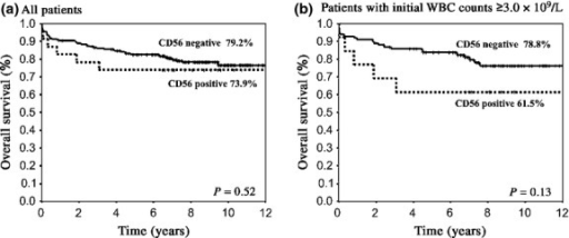 Overall survival (OS) of patients with acute promylocytic leukemia according to CD56 expression. (a) OS was not different between the two groups for all patients (73.9% vs 79.2% at 9 years, P = 0.52). (b) In patients whose white blood cell (WBC) count was ≥3.0 × 109/L, OS did not differ between the two groups (61.5% vs 78.8%, P = 0.13).