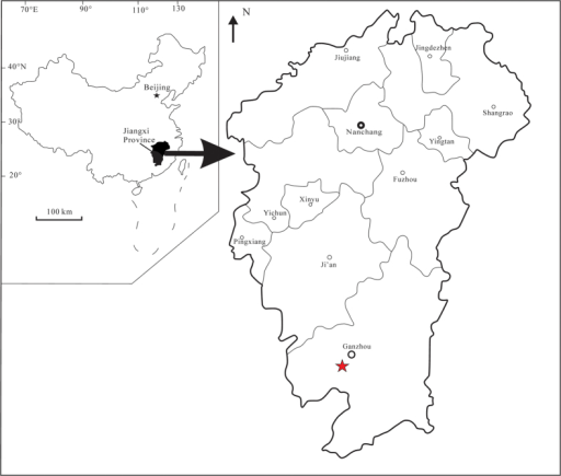 Map of the fossil locality near Ganzhou, Jiangxi Province, southern China.The five-pointed star represents the fossil site. Modified from Lü et al.26