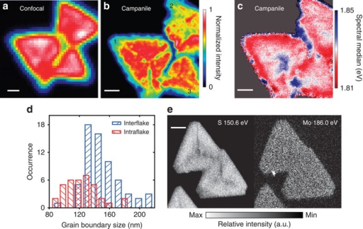 Excited-state quenching of GBs and elemental mapping of ML-MoS2.Far-field confocal micro-PL (a) and nano-PL (b) images of an aggregate of three flakes (labelled 1, 2 and 3) forming three interflake GBs. In the interior of flake 1, radial intraflake GBs are observed extending from the centre towards the apexes of the triangular flake. The interflake GB quenches the PL intensity by 50–80%, whereas the intraflake GB quenches the PL intensity by ∼20%. Scale bars, 1 μm. (c) Map of the emission energy (that is, the spectral median value defined in Fig. 1d). Scale bar, 1 μm. (d) Histograms of the half width at half max sizes of the interflake and intraflake GBs, which are measured from the spatial extent of the PL reduction and sampled semi-equidistantly along the respective features (see Supplementary Fig. 9 for more details). (e) Nano-Auger elemental mapping of S and Mo on a similar multiflake aggregate from the same growth run. Both the edge region and GBs are S-deficient, while the Mo composition is uniform over the flakes. Scale bar, 2 μm.