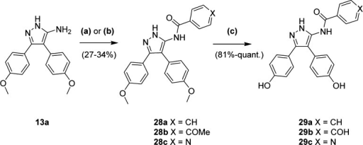 Synthesis of Benzamide AnaloguesReagents and conditions: (a)(4-OMe)-benzoyl chloride, Et3N, DCM, 0 °C–rt,3.5 h; (b) nicotinic acid, oxalyl chloride, DMF, DCM, 0 °C–rt,2 h, then Et3N, DCM, 0 °C–rt, 14 h; (c) BBr3 (1.0 M in DCM), DCM, −78 °C–rt, 14 h.